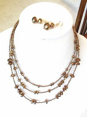 Bronze Colored Glass Bead Necklace And Pierced Earrings Set
