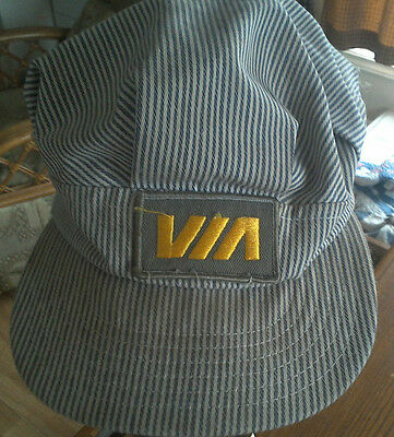 Via Rail Cap Gray and Gold Patch Railroad Train Engineer Conductor Hat Cap