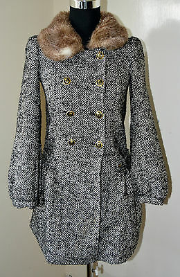 Juicy Couture wool blend Coat black and white Faux Fur collar UK size 8 / XS