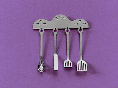 Dolls House Miniatures:  Set of Metal Kitchen Utensils : in 12th scale