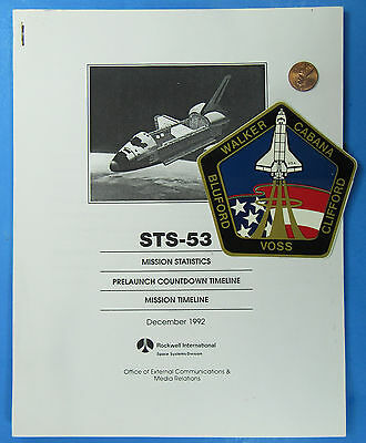 NASA MISSION STATISTICS & Sticker '92 vtg Space Shuttle DISCOVERY STS-53 Bluford