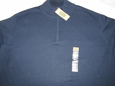 NWT Men's Foundry Pullover 1/2 Zip-up L/S  3XLT $50 Signature Navy 100% Cotton