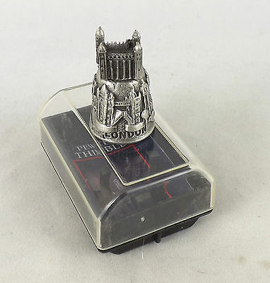 British  Hand Polished Pewter Thimble - London - Tower Of London Boxed New