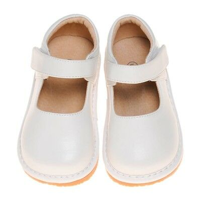 Girl's Leather Squeaky Mary Jane Toddler Shoes Solid White Sizes 1 to 7
