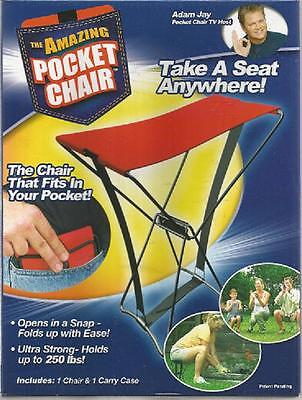 NEW IN BOX Amazing POCKET CHAIR Gardening Camping Fishing Hold up to 250 Pounds