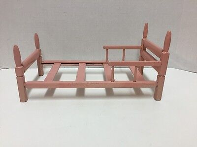 Vintage Wood Bed Pink 11 inches Finials Rails