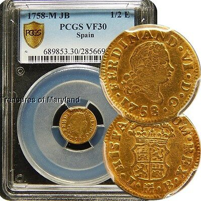 PCGS VF 30 Certified! 1758 Ferdinand VI Spanish Gold 1/2 Escudos Doubloon!