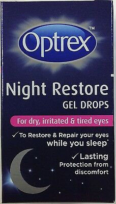 Optrex Night Restore gel Drops for dry irritated & tired eyes 10ml