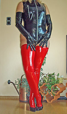 Damen Latex Strümpfe Rubber Latexstrümpfe  Gr. L ROT Domina Fetish