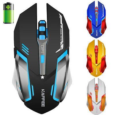 PC 2.4GHz Wireless Gaming Mouse 2400DPI USB Optical Ergonomic Rechargeable Mouse