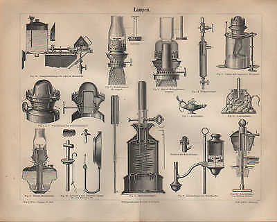 Lithografie 1890: LAMPEN. Patent-Reichslampe Dampfstrahl-Lampe Ligroin-Lampe