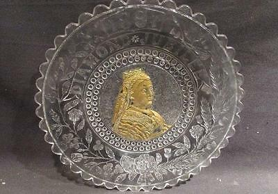 Queen Victoria 1897 Diamond Jubilee Clear Glass Plate with Gold Portrait