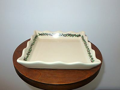 Henn Pottery Hollyware Holly Ware Christmas Wavy Edge Square Serving Tray Plate