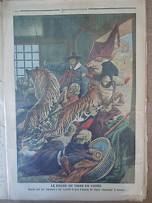 Rare Print 1909 Nice Color Cover Engraving Tiger Reign in Korea Corea