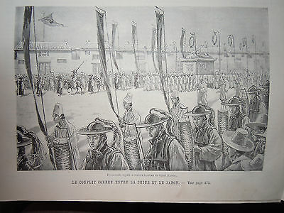 Old Print 1894 Korea Emperor Corea War Korean Army Troops China Japan War Seoul