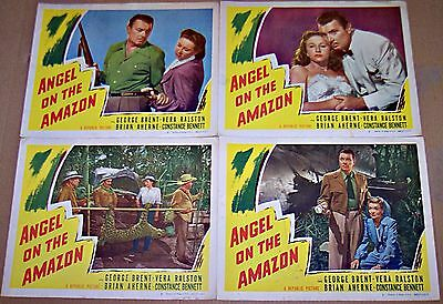 Angel On The Amazon (1948) Vera Ralston * George Brent Lot Of 4 Orig Lobby Cards