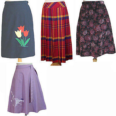 1970s Vintage Skirt Lot Wrap Around Preppy Plaid Tulips Bunny 4 Skirts
