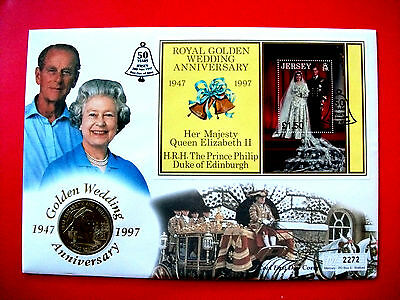 Jersey Royal Golden Wedding Anniversary 1997 £5.00 First Day of Issue Coin Cover