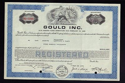 Gould Inc Cleveland - USD 100.000,00 old bond dd 1974 iss to Carothers & Clark