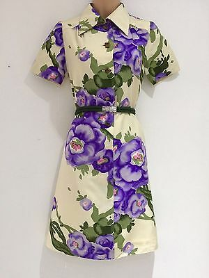 Japanese Vintage 60's Mod Cream Lilac Green Floral Belted Short Day Dress 10