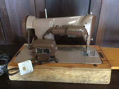 Vintage Singer 185k Electric Heavy Duty Sewing Machine with Case & Tools  #A23
