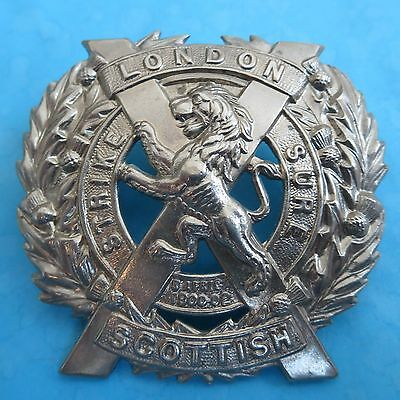 The Scottish 14th Battalion County of London Regiment Army/Military Cap Badge