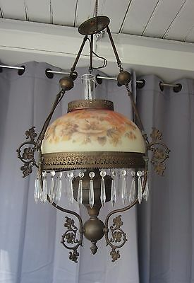 VTG Antique Victorian Hanging Oil Lamp Ceiling Fixture Chandelier Electrified
