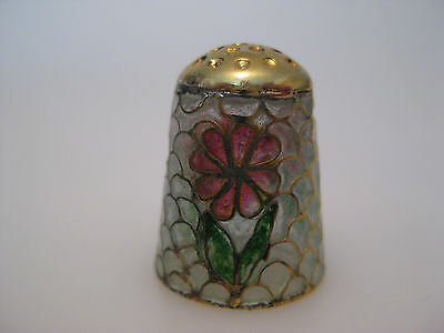 White  Plique a jour STAINED GLASS Thimble with flowers