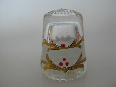 Hand Painted Clear GLASS Thimble
