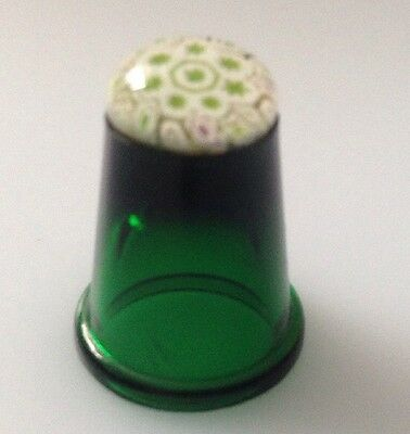 Green Caithness GLASS Thimbles With Millefiori Paperweight Style Top