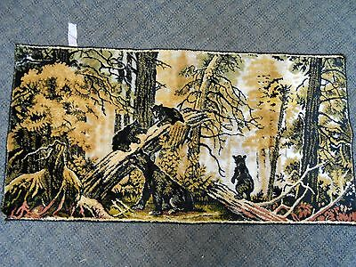 """38"""" long Bear Cub in Forest Tapestry Made in Italy Soft Velour 19 1/4"""" wide"""