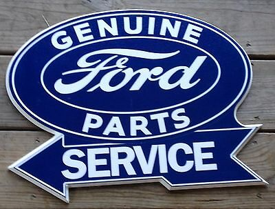Large Genuine Ford Parts Service Arrow To Left Wood Plastic Advertising Sign