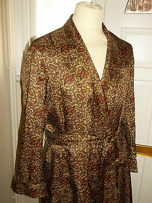 Vintage 1960's Tootal Tricel Smoking Jacket Dressing Gown Robe M