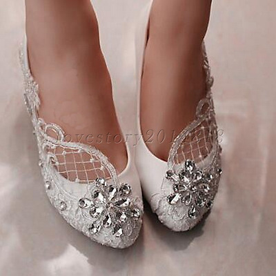Lace white ivory crystal Wedding shoes Bridal flats low high heel pump size 5-10