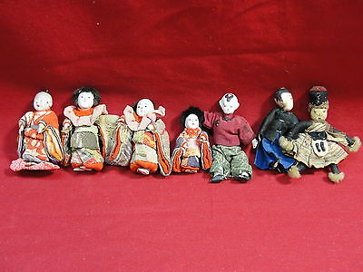 "Mixed Lot Of 7 Antique Japanese 3"" Inch Small Dolls Gofun Oriental Asian Vintage"