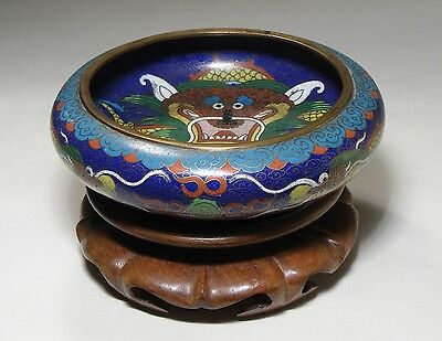 Vintage Chinese Cloisonne Enamel Dragon Bowl And Stand