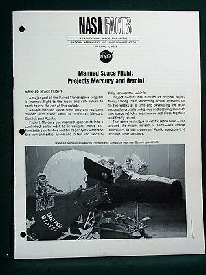 Mercury & Gemini Manned Space Flight Projects -  orig 1967 NASA Facts Book