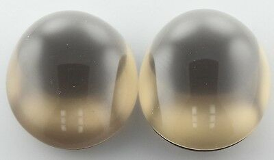 A PAIR OF 14x10mm OVAL CABOCHON-CUT NATURAL AFRICAN SMOKEY QUARTZ GEMS £1 NR!