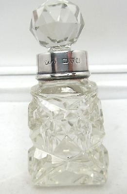 Old 1938-40 Art-Deco Cut Glass Chester    Silver Top.cut Glass Perfume Bottle
