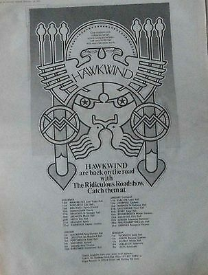 HAWKWIND : Ridiculous Roadshow -2 Poster Size NEWSPAPER ADVERTS 1973 30cm X 40cm
