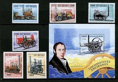 Benin MNH Scott #1022-1028 Early Locomotives Trains - Complete with S/S CV$12+