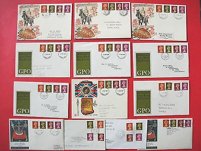 Pack 12 Definitive First Day Cover Issues 1968