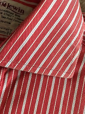 Lovely Red & White Striped Shirt By T M Lewin Uk 15.5 Luxury Slim Fit