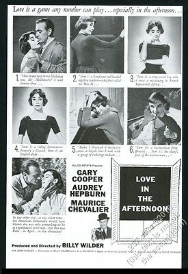 1957 Love in the Afternoon movie release Audrey Hepburn photo Saul Bass art ad