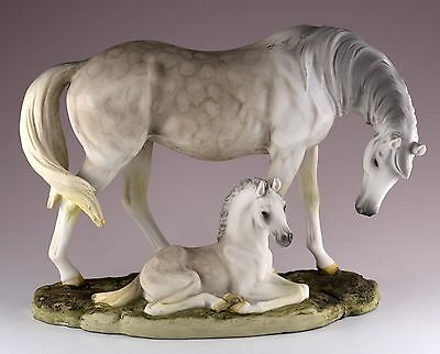 """Mare and Foal Horse Figurine Resin 8.5"""" Long - Highly Detailed - New In Box"""