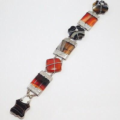 Victorian Scottish Agate Silver Bracelet With Padlock