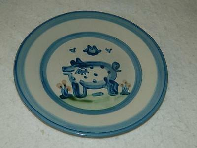 "M A Hadley Country Scene Blue Pig Salad Plate 8 3/4"" Vintage Free Ship"