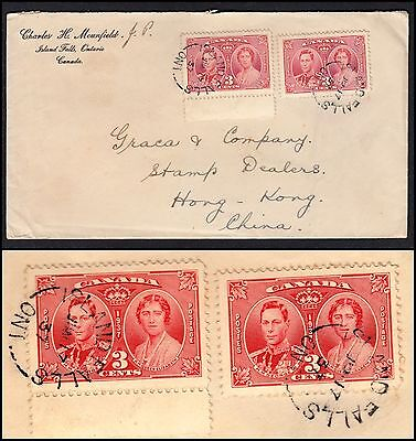 ISLAND FALLS, ONT, CANADA 1937 COVER TO HONG KONG. w/ 2 SCOTT #233. USED, VF