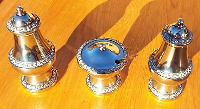 Ianthe Silver Plated Salt, Pepper Shaker and Mustard Pot with Spoon. Condiments.