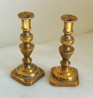Vintage Pair Small Brass Candle Sticks
